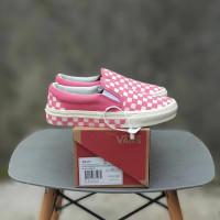 Sepatu Vans slip on Checkerboard Pink White ORI Premium BNIB