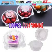 100pcs Cup Salad Bulat Mangkok Kotak Plastik Kemasan Buah Kue Makanan