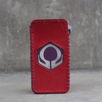 Red Leather Case Sleeve Hexohm V3 Cut Logo Kulit Asli