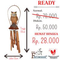 LONCENG ANGIN KLONTONG BAMBU OWL SUARA MERDU ORIGINAL PREMIUM