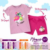 baju setelan anak perempuan 2 3 4 5 6 7 8 9 tahun momvie pink