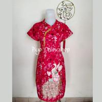 Dress Shanghai Cheongsam Merak Dewasa (Bunga Emas)