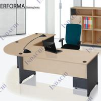 Meja direktur meja kantor Indachi bentuk L uk.150 + meja L 120 cm