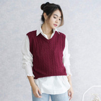 Rosita Cable Knit Outer Sweater Vest Rajut Street Style Tanpa Lengan