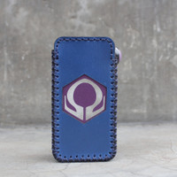 Navy Blue Leather Case Sleeve Hexohm V3 Cut Logo Kulit Asli