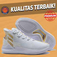 Sepatu Basket Sneakers Adidas Rose 9 White Gold Pria Wanita
