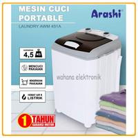 Mesin Cuci Mini Portable ARASHI AWM 451A 4.5 Kg - Bisa Gojek