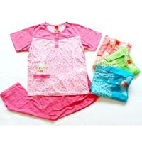baju tidur babydoll amro lebel merah celana panjang 5494