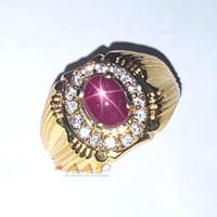 cincin ruby star NATURAL CORONDUM / natural ruby star / batu ruby - gold, 7