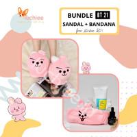 Bundle Sandal Kamar BT21 dan Bandana BT 21 Murah Lucu Original