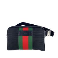 Gucci Waist Bag Black Canvas in Stripe Green Red Green