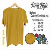 Kaos Polos Kaos Santai Cotton Combed 30s - Kuning Emas - M