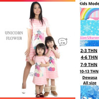 Dress Caupel Ibu Dan Anak/Baju Perempuan Pink Stip Kids Grild unicorn