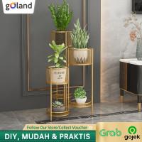 Goland Rak Tanaman Rak Bunga 6 Slot Flower Standing Shelf Ruang tamu - Gold