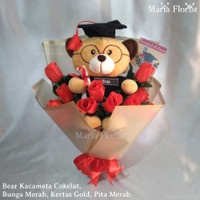 Buket Bunga Mawar | Buket bunga boneka wisuda | buket bunga wisuda - Merah-KrtasGold, Bear KacaCoklat