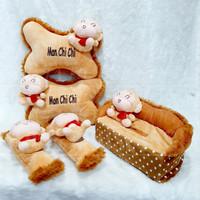 Car Pillow Set Mon Chi Chi boy 3in1 Bantal Mobil Monyet Coklat Polka
