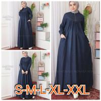 Gamis Jeans Elena Size S M L XL XXL / Dress / Baju Muslim / Pakaian Wa