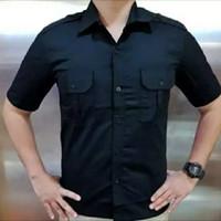 baju pdh hitam pendek dan panjang kemeja hitam polos pdh dril termurah