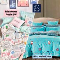 Kain Sprei Meteran Rilakkuma Bear Hello Kitty Biru HK Love Sanrio