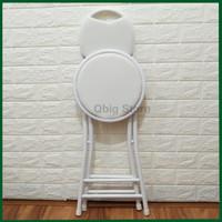 Kursi Lipat Impor / Kursi Makan Bulat / Bangku Belajar / Folding Chair - Putih