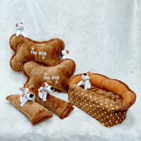 Car Pillow Set Doggy 3 in 1 Bulu Bantal Mobil Doggy Coklat Polkadot