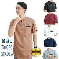Baju koko pria - Baju muslim pria Label Bahan Toyobo FASHION NARESWARI - Cokelat, M