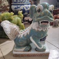 Patung Naga Kilin Keramik Porcelain T 28cm / Barang Antik Tua Kuno