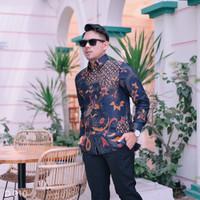 Kemeja Batik Dobi Laseman Pria Lengan Panjang Motif Burung Phoniex