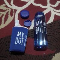 Botol Air Minum 500ml BPA Free + sarung   My Bottle Biru Tua