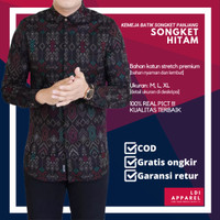 Baju Kemeja Batik Songket Pria Lengan Panjang Motif Casual Original - Hitam, M
