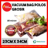 PLASTIK VACUUM VACUM VAKUM BAG SEALER MAKANAN POLOS DELKO 23x34 SATUAN