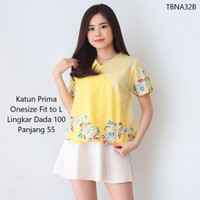 Atasan Blouse Batik Wanita Terbaru Fit to XL Baju Jumbo Cewek Kuning