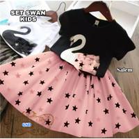 Setelan Swan -Baju Setelan Rok Anak Motif -Fashion anak Perempuan