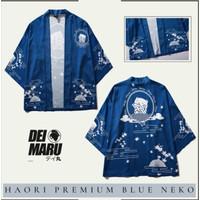 Baju Kimono Yukata Haori cosplay jepang Biru Motif Kucing Pria Wanita