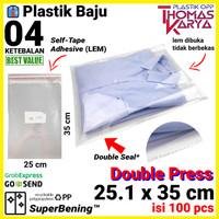 Plastik OPP LEM TIPIS 25.1x35 cm DOUBLE SEAL Packng Baju Kaos Garment