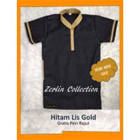 Zerlin Baju Koko Anak Bayi Turki Laki-laki Hitam Lis Gold