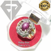 Cincin permata batu ruby star tajam dijamin asli natural / cincin pria