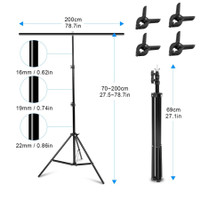 Stand Background Backdrop Photography T-Shape 200x200cm with 4 Clamp