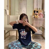 Baju tidur import motif Doraemon setelan tangan pendek
