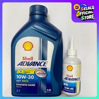 PAKET OLI MATIC SHELL ADVANCE AX7 SCOOTER 0.8L 10W30 + 1 GARDAN SHELL