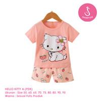 Setelan Baju Tidur Anak Perempuan Import Pendek Hello Kitty A Shirton - KITTY A PDK, Size 70