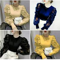 blouse brokat scuba/baju atasan/blouse pesta/baju tangan balon/modis