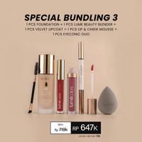 Bundling Lumecolors Lipstik Foundation Beauty Blender Eyeliner