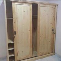 lemari pakaian/lemari murah 3 pintu sliding bahan kayu jati belanda