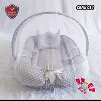Kasur bayi kelambu model perahu motif mix polkadot abu2 and polos