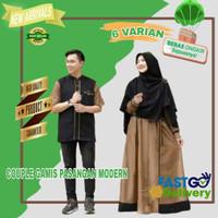 Baju Gamis Couple Muslim Pasangan Keluarga Suami Istri Casual Modern