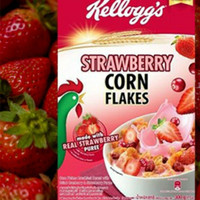 Kellogs corn flake strawberry 180gr di box, renyah, enak tinggal makan