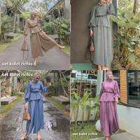 Set Celana Wanita Atasan Bawahan Kulot Moscrepe Obi Casual Kekinian