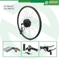Set Ebike Kit Dinamo motor bldc 36v 350w velg ring26 sepeda listrik