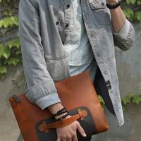 tas genggam kulit - tas laptop 14 inc - tas kulit asli - tas tangan